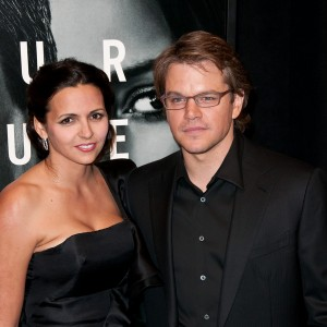 Matt Damon and Luciana at The Adjustment Bureau NYC premiere
