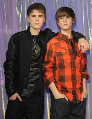 Justin Bieber unveils his new wax figure at Madame Tussauds in London