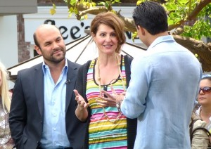 Nia Vardalos and her husband Ian Gomez interview with Extra and Mario Lopez